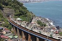 outdoor, water, mountain, nature, bridge, train, railroad, travel, shore, overlooking, island