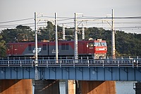 sky, outdoor, railroad, train, track, building, rail, bridge, locomotive, vehicle, wood, traveling, several, dock