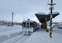 sky, outdoor, snow, train, vehicle, station, road, day