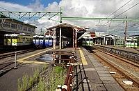 train, track, sky, outdoor, rail, station, vehicle, land vehicle, locomotive, railroad, traveling, day