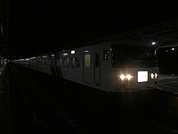 station, night, railroad, outdoor, dark, light, platform, rail, vehicle, train