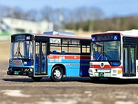outdoor, sky, road, bus, transport, vehicle, land vehicle, blue