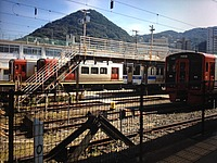 train, track, sky, outdoor, vehicle, rail, land vehicle, railroad, traveling, several