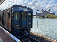 outdoor, transport, train, sky, lake, platform, water