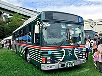 grass, sky, outdoor, transport, vehicle, land vehicle, bus, people