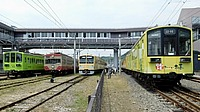 sky, outdoor, train, track, transport, land vehicle, rail, vehicle, station, locomotive, traveling, railroad
