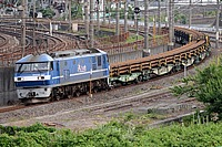 grass, railroad, train, track, outdoor, rail, locomotive, transport, land vehicle, vehicle, traveling