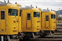 outdoor, train, sky, yellow, transport, track, land vehicle, vehicle, rail, parked, station, railroad