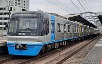 sky, outdoor, transport, track, railroad, land vehicle, rail, vehicle, train, station, blue