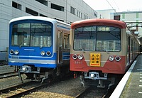 train, outdoor, track, transport, land vehicle, vehicle, station, rail, blue, platform, traveling, railroad, day