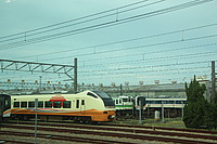 sky, train, track, outdoor, rail, land vehicle, vehicle, station, railroad, locomotive, traveling, engine, electronic, several
