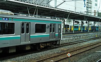 train, track, outdoor, railroad, transport, rail, green, land vehicle, station, platform, vehicle, passenger