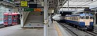 train, track, text, railroad, rail, vehicle, land vehicle, station, platform, pulling